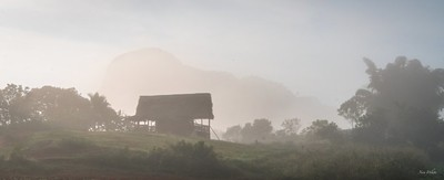 Wood cabin in the haze