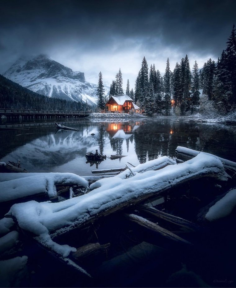 Emerald Lake on cloudy morning  by mindz.eye - Isolated Cabins Photo Contest