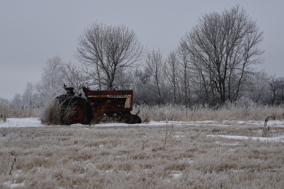 Rusty Farmall tractor amidst a frosty winter scene.