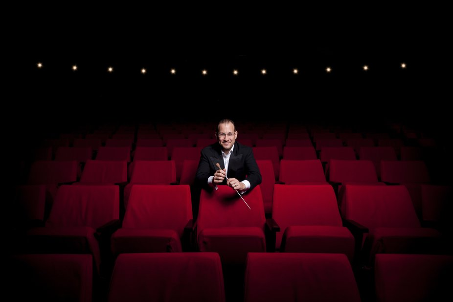 Portrait session for the resident conductor of the Winnipeg Symphony Orchestra