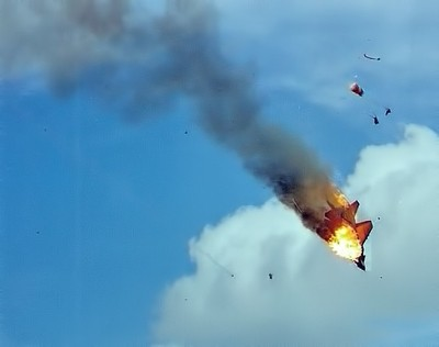 Scan of Russian MiG 29 display pair collision 1993 - My only ejection shot