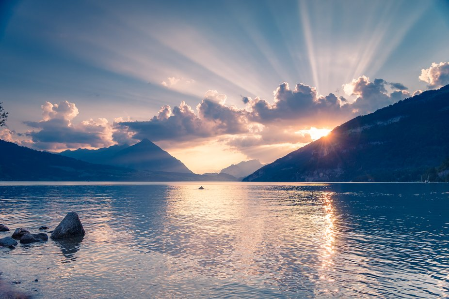 Visited the shoreline of Lake Thun in Interlaken Switzerland one evening. The clouds were passing...