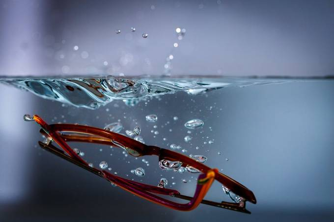 glasses in water 3 by lineart-ch - Experimental Photography Project