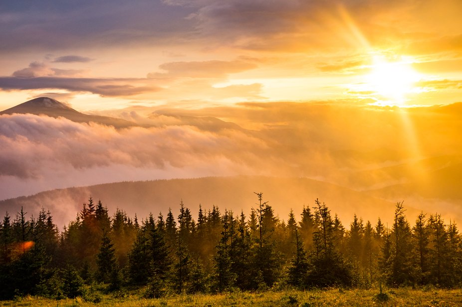 Sunset over Carpathian mountains in Ukraine. Perfect spot for camping!
