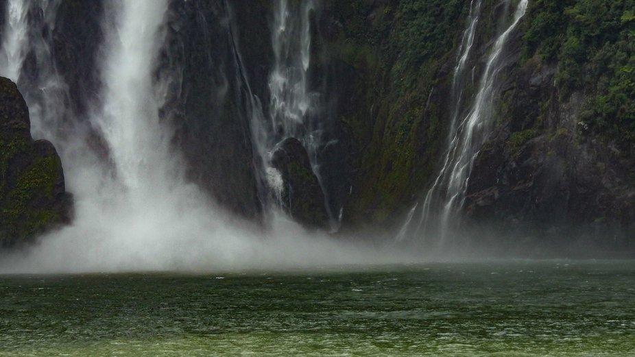 Waterfall Milford Sound, New Zealand