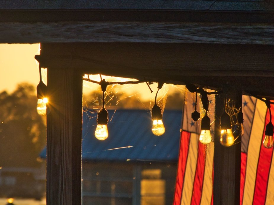 Dockhouse lights at Sunset