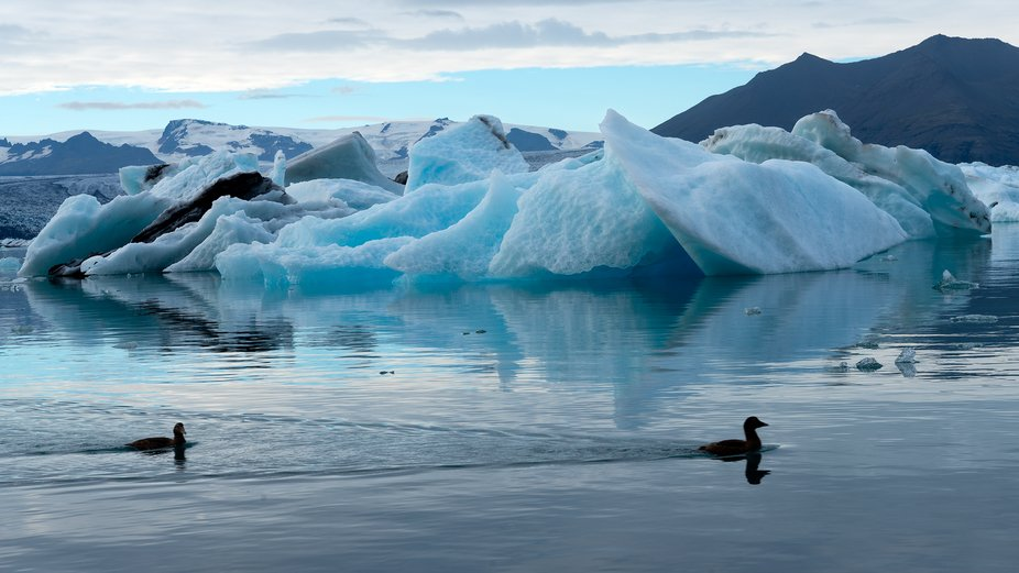 Jokulsarlon Glacier Lagoon is located in Southeast Iceland. Here you can see the floating iceberg...