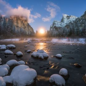 Moon rising over Yosemite Valley in Yosemite National Park - I was out in Yosemite for Christmas and it was snowing all the time. After 2 days of...