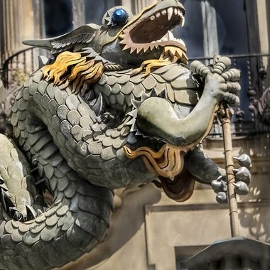 The Dragon of Barcelona located on the Casa Bruno Cuadros hotel in Las Ramblas district.