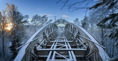 winter railroad bridge