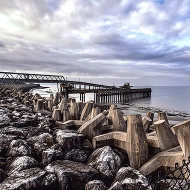 Raynes Quarry Jetty near Colwyn Bay, North Wales, also a section of the 20,000 dolas which form the sea defences