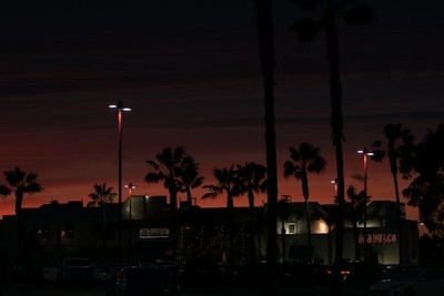 sunset at the Marina Pacifica Mall