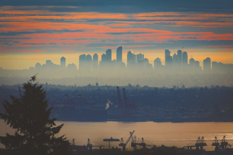 Metrotown, a suburb of Vancouver. A seabus is heading from downtown Vancouver towards the North S...