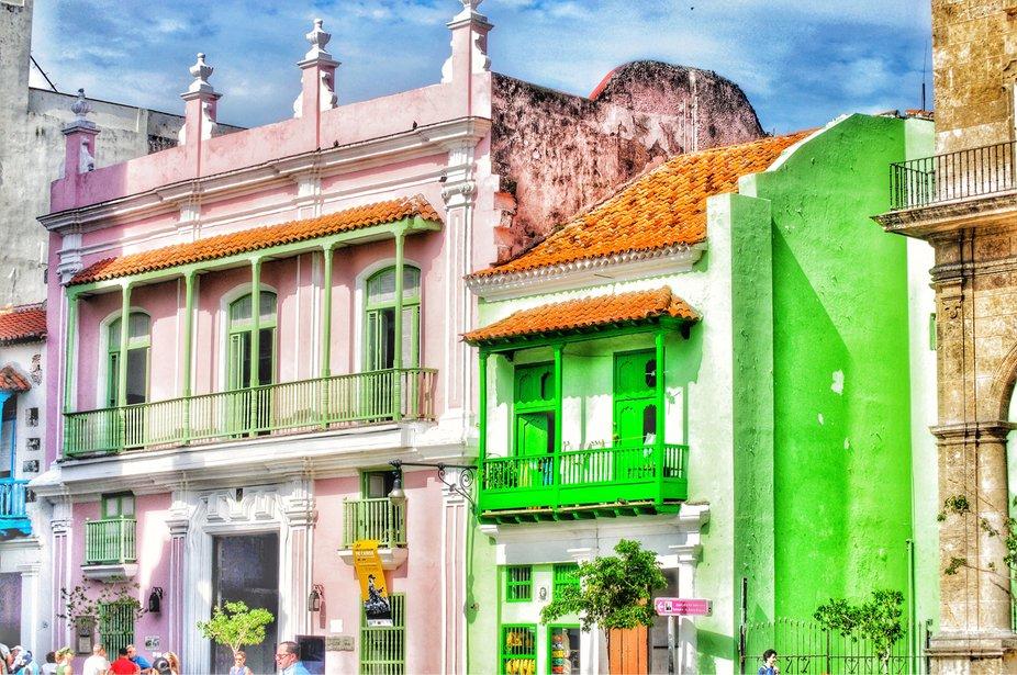 Bright Beautiful Old Town Habana Cuba