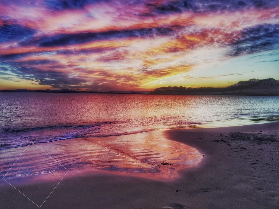 Took this photo on one of my sunrise hunt missions at 6am.     Cremone beach, Hobart Tasmania.