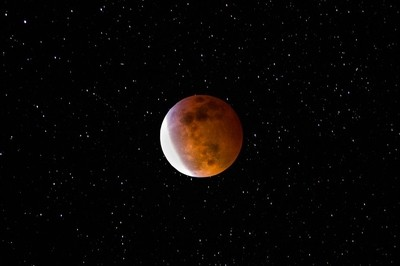 Eclipse Blood Moon  with Stars