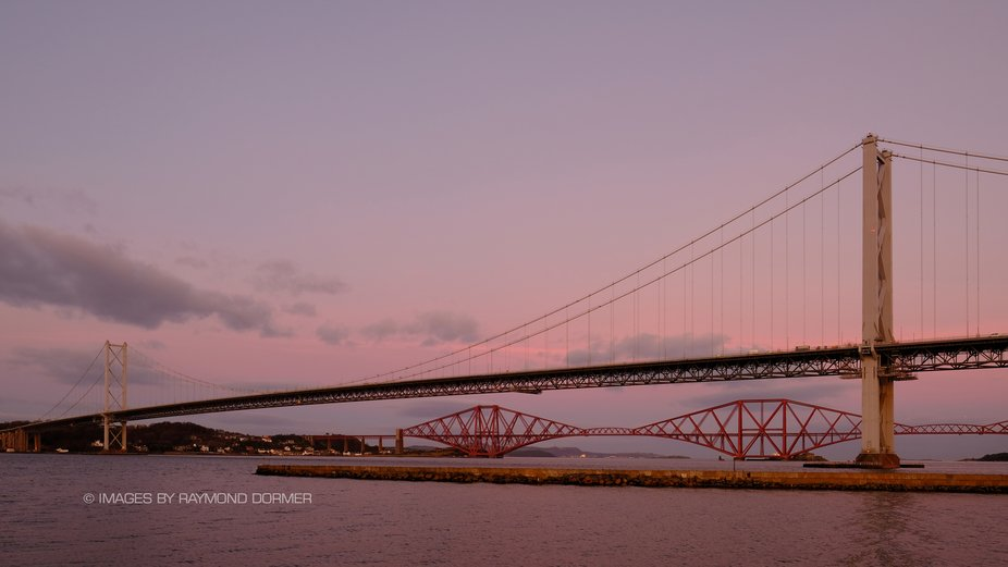 Two of Scotland's most recognisable landmarks - the Forth Bridge and Forth Road Bridge. ...