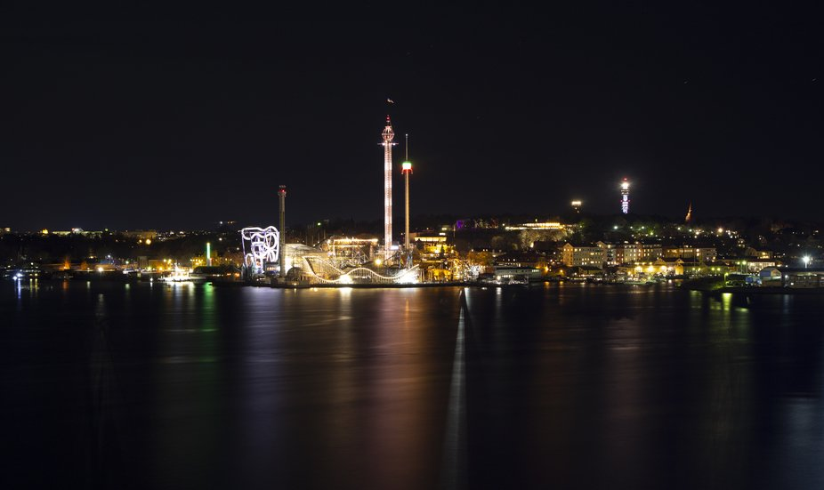 Gröna Lund amusement park at night. Photographed in November, year 2015.