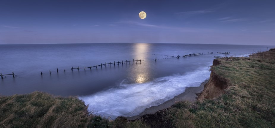 Moonlight seascape Norfolk UK