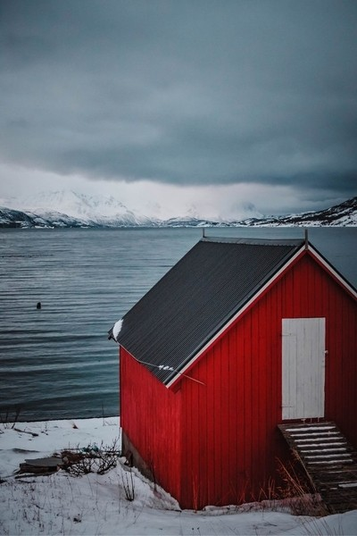 Red cabins of Norway.
