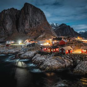 Cabins on the rocks, Lofoten Islands, Norway.