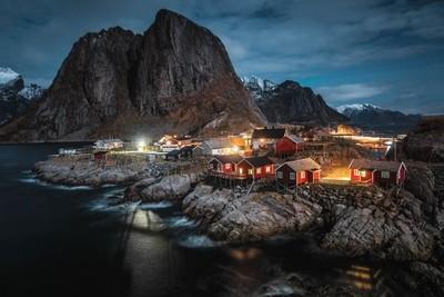 Cabins on the rocks, Lofoten Islands, Norway.