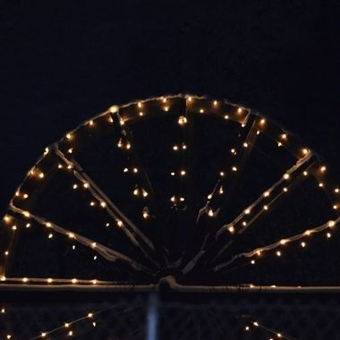 The water wheel lit up for Christmas