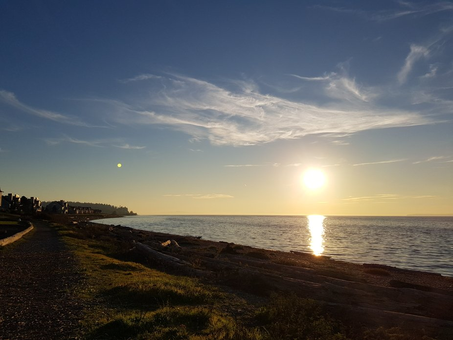 It was a random sunset shot while strolling on the beach in Blaine. Upon closer look did I realis...