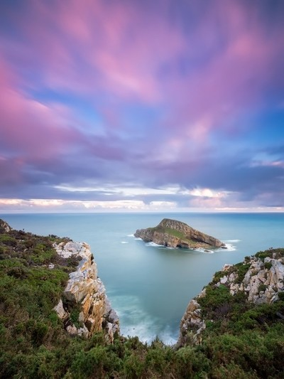Island under a Pink sky