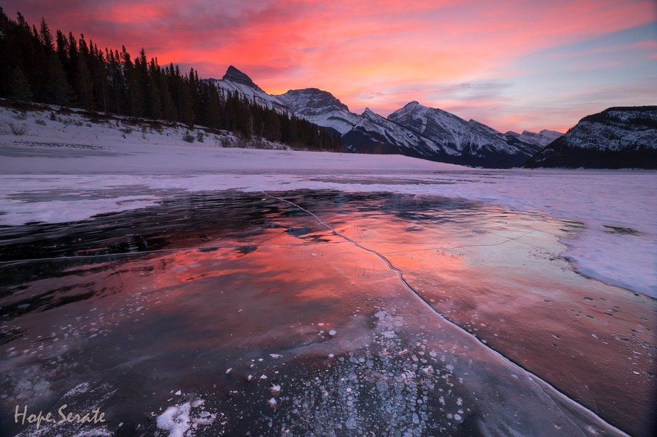 When I arrived at the lake half an hour before sunrise I noticed with disappointment the snow tha...