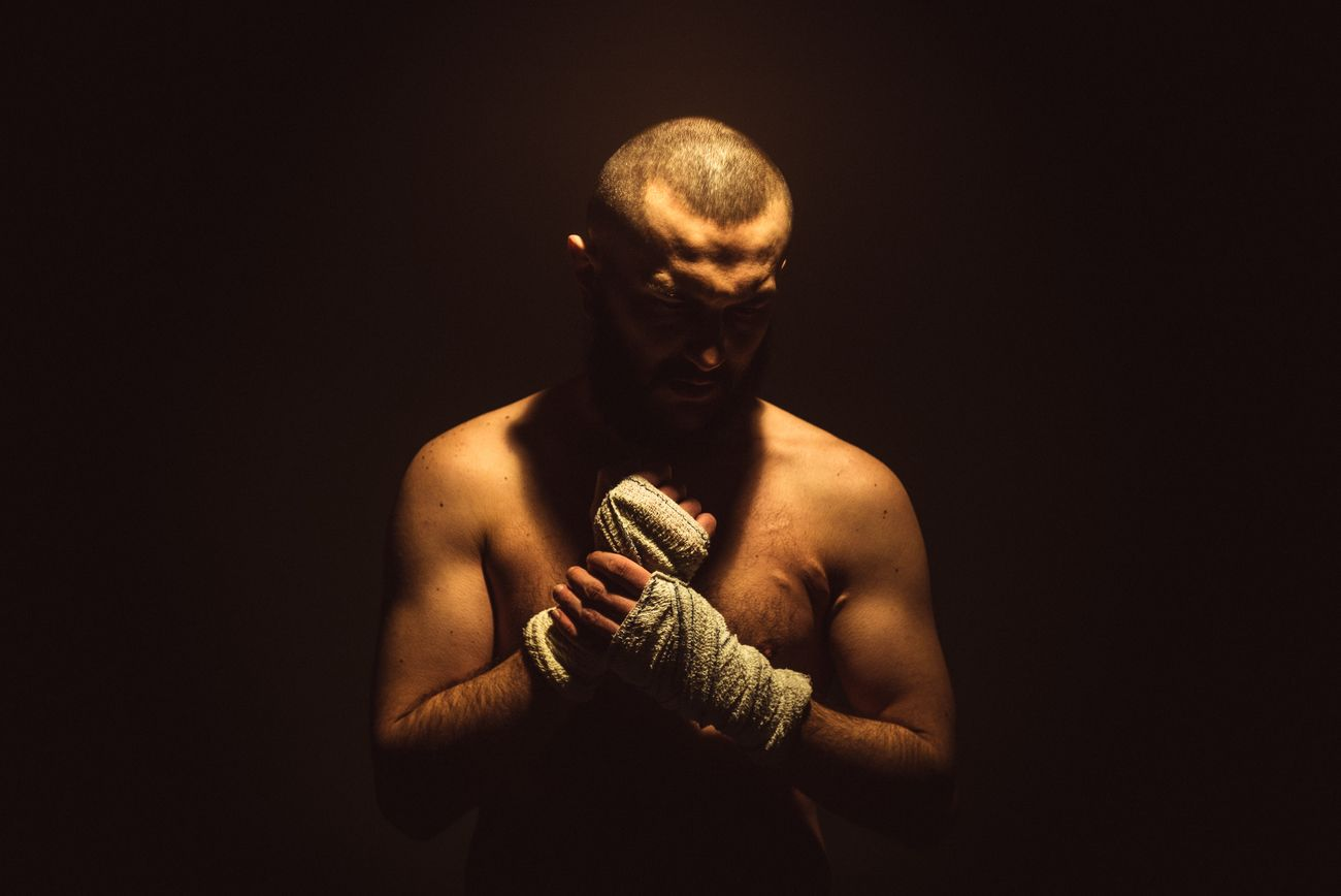 The fighter focused before the fight.