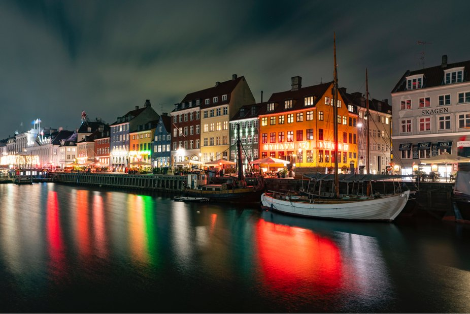 Copenhagen at night with a nice reflection!
