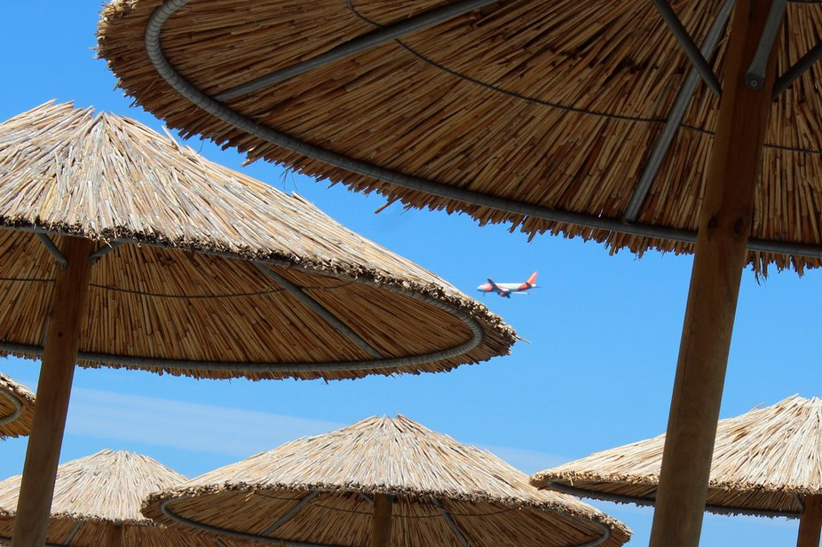 Airplane from the beach