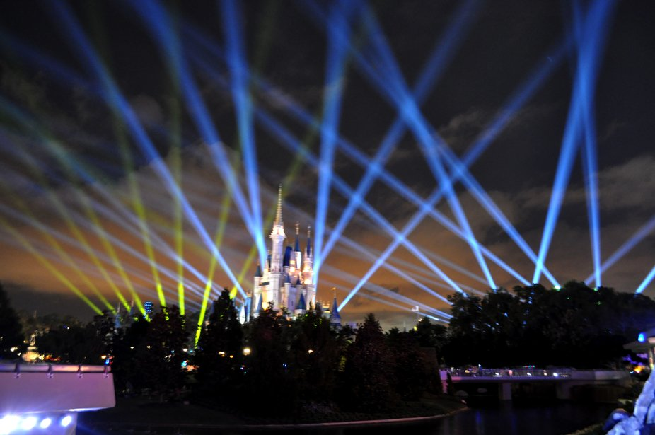 Cinderella's castle light show for the Disney television special to be aired on the Disn...