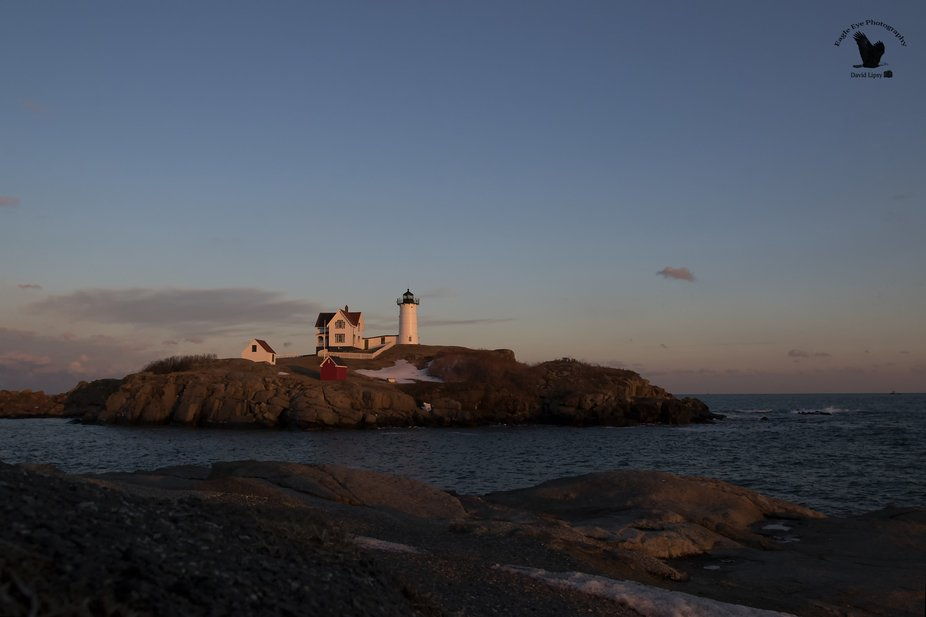 Nubble light in York Maine, photographed on 01-26-19 in the golden hour
