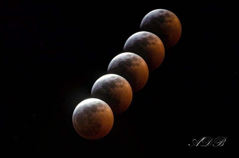 Super Blood Moon in phases