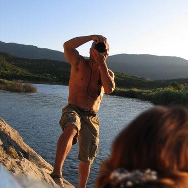 Fashion shoot at the lake