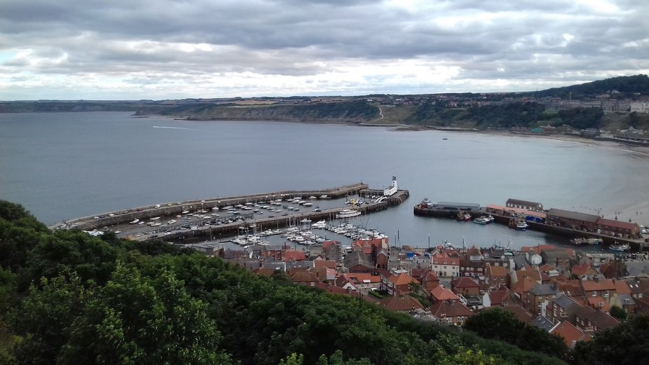 Scarborough Harbour and surrounding areas in the background.  Taken from Scarborough Castle grounds