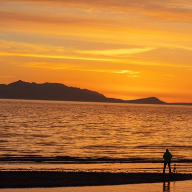 Setting sun over the Isle of Arran, Scotland