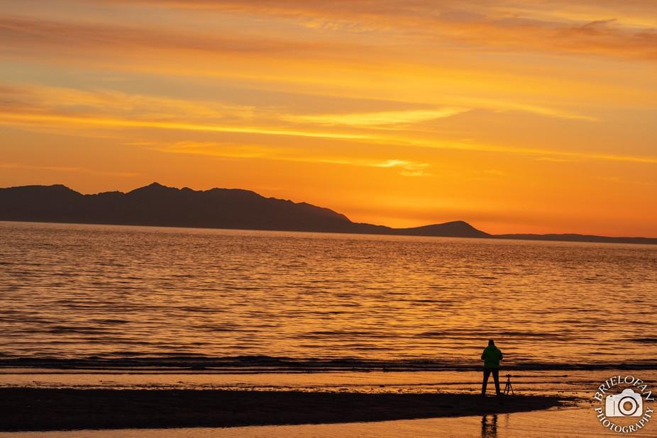 Setting sun over the Isle of Arran, Scotland