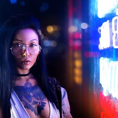 Portrait with color light