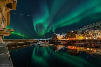 Aurora borealis, and a giant shooting star