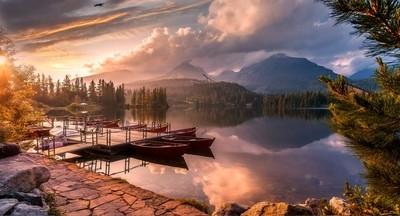Mountains lake during sunset
