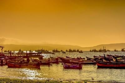 Sunset in a Peruvian beach