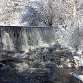Water fall on a sparkling winters day