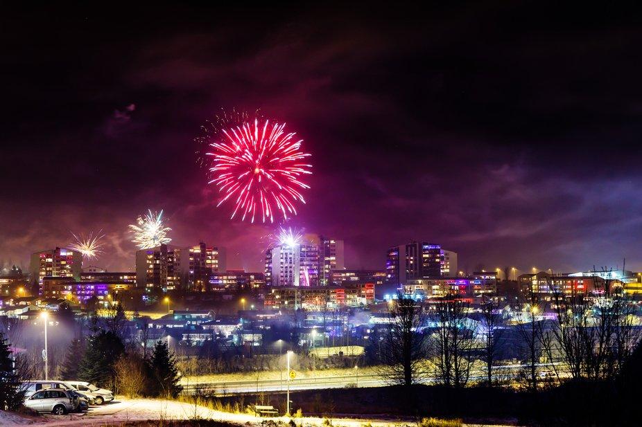 Fireworks on New years Eve - Kopavogur, Iceland