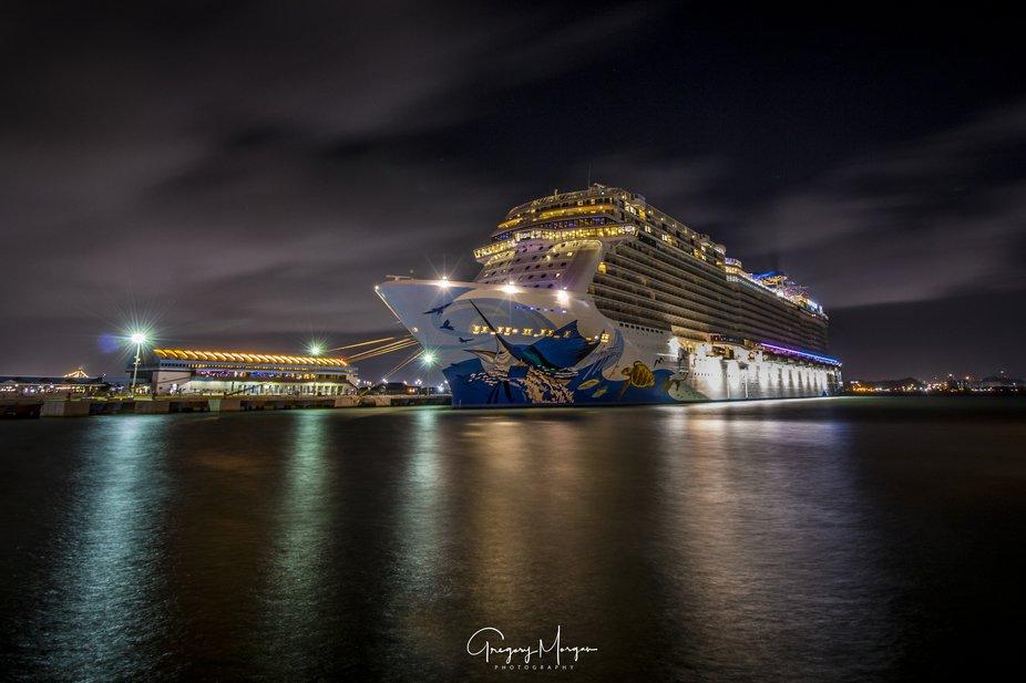 NCL Escape night San Juan port side