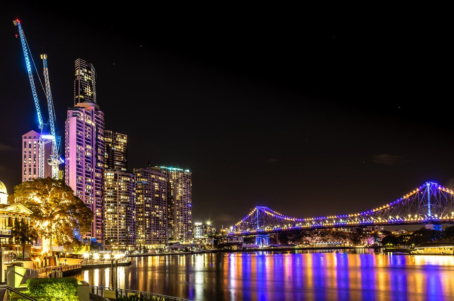 The Story Bridge on 4 February 2019 lit up for World Cancer Day