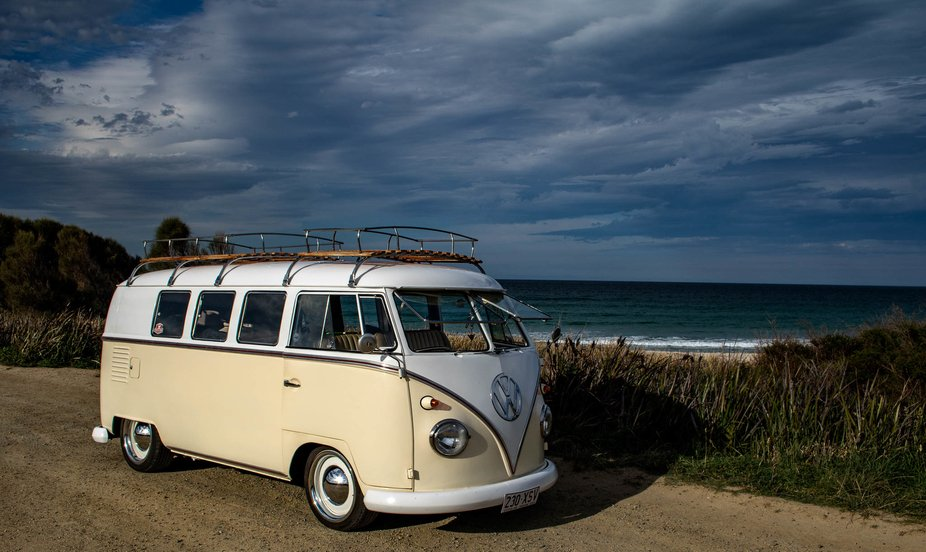 This beautiful Kombi was a ray of sunshine on a dreary day. East coast Tasmania.