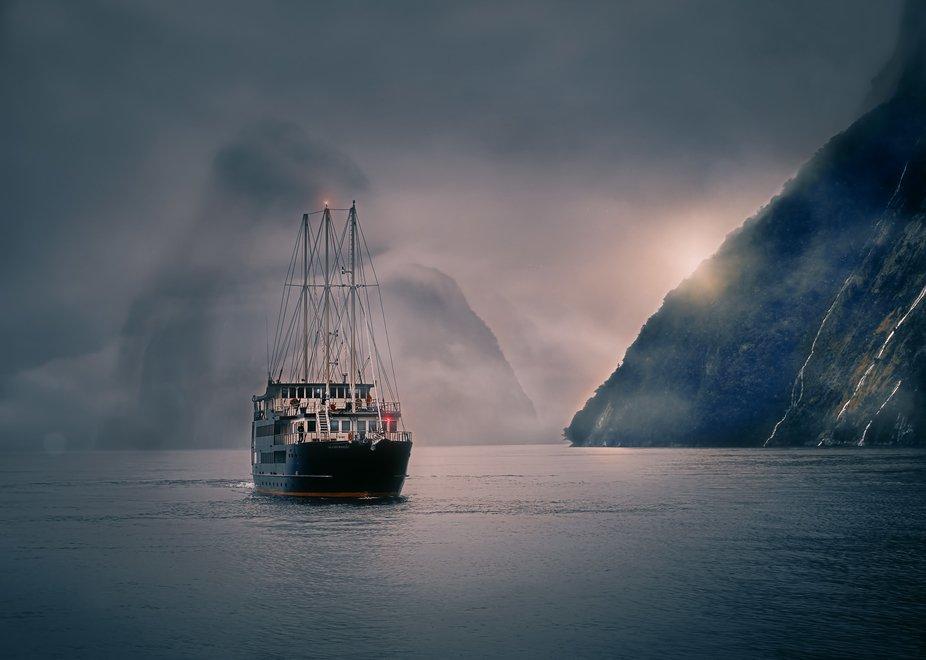 Cruising Milford Sound, New Zealand, version 2